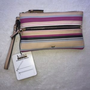NWT! Kate Landry Charged Up Striped Wristlet